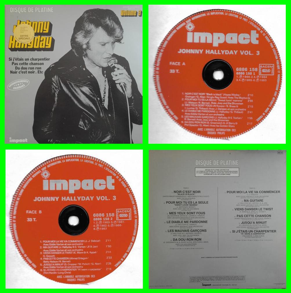 acheter disque vinyle disque de platine volume 3 johnny hallyday à