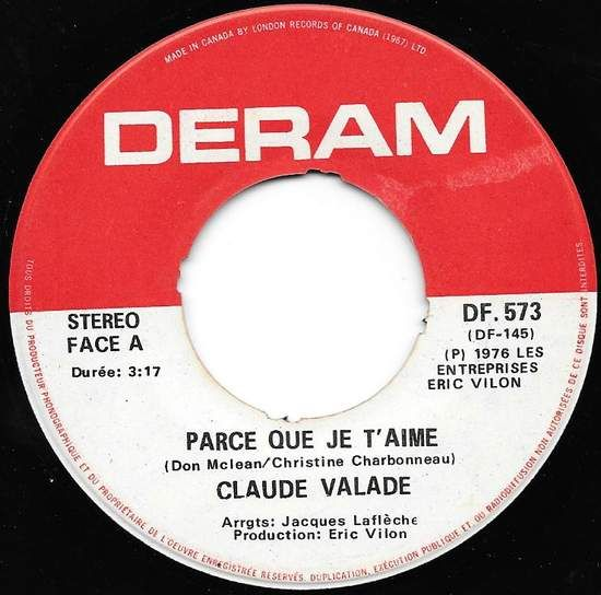 Buy vinyl artist% Parce Que Je T'aime / And I Love You So for sale